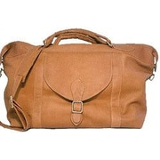 David King 25'' Leather Top Zip Travel Duffel; Tan