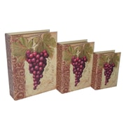 Cheungs 3 Piece Vinyl Book Box with Grape and Wine Theme Set