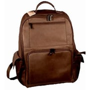 David King Large Front Zip Laptop Backpack; Caf  / Dark Brown