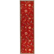 Ottomanson Ottohome Dark Red Floral Garden Area Rug; Runner 1'8'' x 4'11''