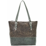 American West Uptown Girl Zip-Top Briefcase Tote; Brown