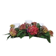House of Silk Flowers Artificial Hydrangea and Berry Triple Candleholder; Pink/Green