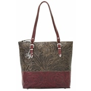 American West Uptown Girl Zip-Top Briefcase Tote; Pomegranate and Charcoal Brown