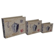 Cheungs 3 Piece Lined Keepsake Book Box with Floral Seashell Design Set
