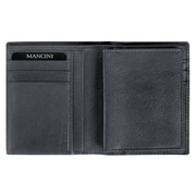 Mancini Collegiate Men s Passcase Hipster Wallet (RFID Secure); Black