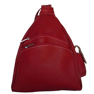 Piel Fashion Avenue Two Pocket Sling Backpack; Red