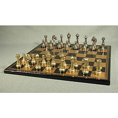 Ital Fama Staunton Metal on Leather Chess Board