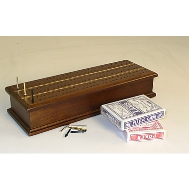 Play All Day Games Inlaid Cribbage Box with Cards
