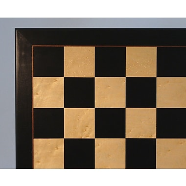 WorldWise Chess 22'' Black and Birdseye Maple Veneer Chess Board