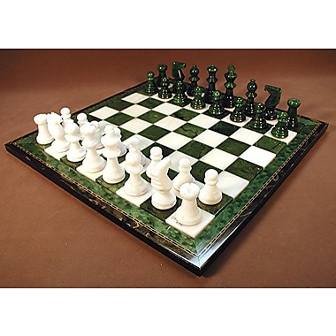 Scali Alabaster Wood Frame Chess Set in Green / White