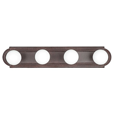 Sunset Lighting Raceway 4-Light Bath Bar; Rubbed Bronze