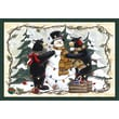 Custom Printed Rugs Home Accents Bears and Snowman Novelty Rug; 37'' x 52'' x 0.125''
