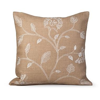 Gracious Living Foliage Burlap Throw Pillow; Natural