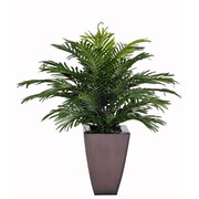 House of Silk Flowers Artificial Parlor Fern Desk Top Plant in Zinc Planter; Dark Copper