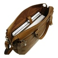Piel Large Laptop Briefcase / Carry-On Leather Laptop Briefcase; Saddle