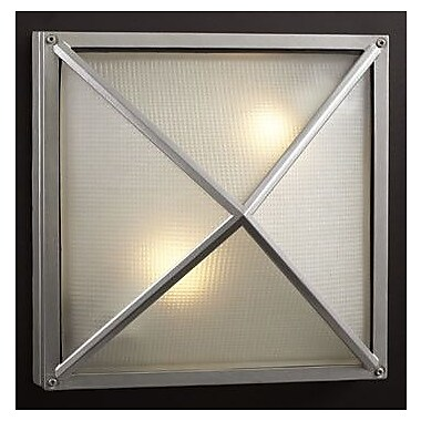 PLC Lighting Danza-II 2 Light Outdoor Flush Mount; Architectural Silver