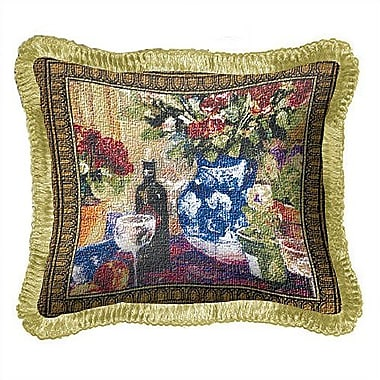 Fine Art Tapestries Roses w/ Wine Throw Pillow