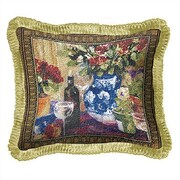 Fine Art Tapestries Roses with Wine Throw Pillow