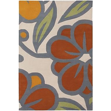 Chandra Inhabit Designer Ivory/Orange Area Rug; 7'9'' x 10'6''