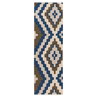 Beth Lacefield Alameda Hand woven Blue/Ivory Area Rug; Runner 2'6'' x 8'