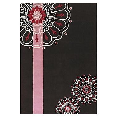 Chandra Dharma Black/Pink Area Rug; 5' x 7'6''