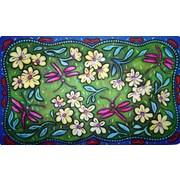 Custom Printed Rugs Flowers and Dragonflies Doormat
