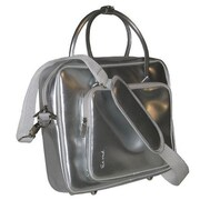 Ice Red Shine 2 Glossy Laptop Briefcase; Silver