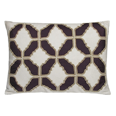 Kevin O'Brien Studio Baroque Embellished Tiles Cotton Lumbar Pillow; Shale