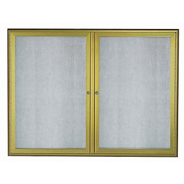 AARCO LED Lighted Enclosed Bulletin Board; Antique Brass