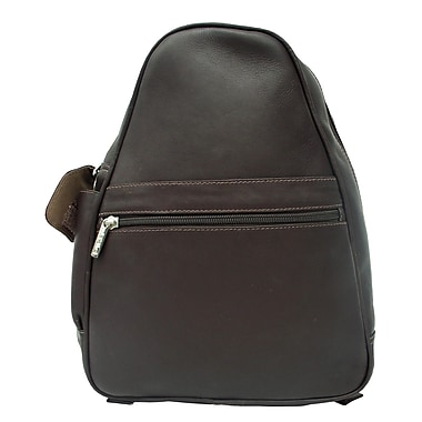 Piel Fashion Avenue Tri-Shaped Sling Backpack; Chocolate