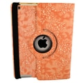 Bargain Tablet Parts Ipad 2 and Ipad 3 Embossed Flower Rotating Case; Orange