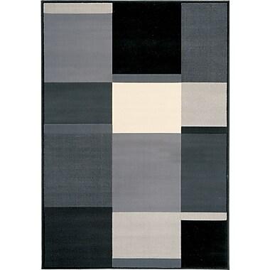Kalora Ming Grey Black Squares Rug; 7'10'' x 10'6''