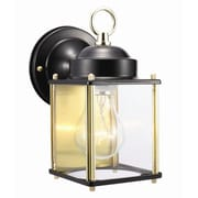 Design House Coach 1 Light Outdoor Wall Lantern; Black and Polished Brass