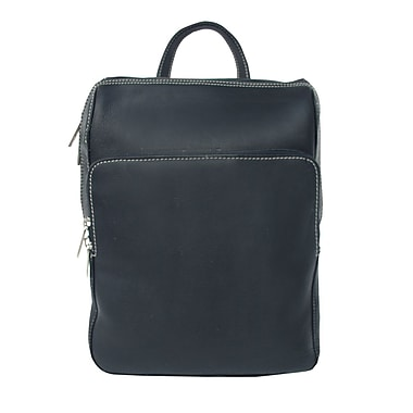Piel Slim Front Pocket Backpack; Black