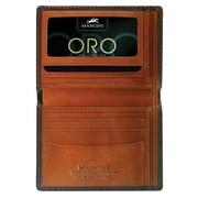 Mancini Oro Men s Slim Wallet in Fine Italian Leather; Mahogany and Tan