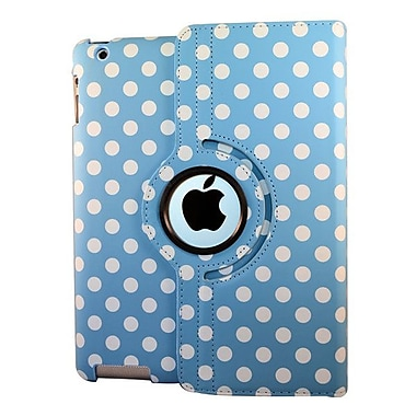 Bargain Tablet Parts Ipad 2 and Ipad 3 Polka Dot Rotating Case; Light Blue