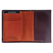 Mancini Oro Expandable Credit Card Case in Fine Italian Leather; Mahogany and Tan
