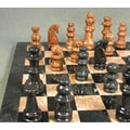 WorldWise Chess Marble Chess Set in Black / Tan