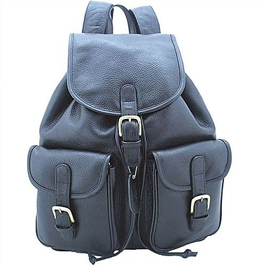 Leatherbay Backpack with Pockets; Black