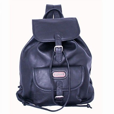 Leatherbay Leather Backpack with Single Pocket; Black