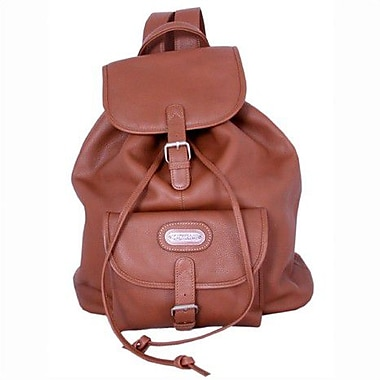 Leatherbay Leather Backpack with Single Pocket; Tan