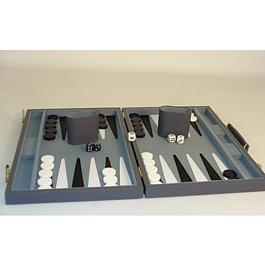 Play All Day Games 15'' Grey Vinyl Backgammon Board Game