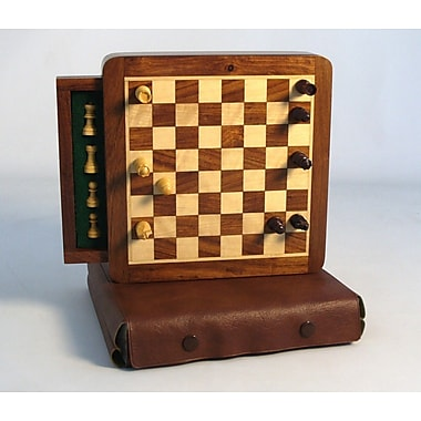 Pleasantime Wood Magnetic Chess Set with Drawer