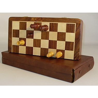 Pleasantime 16'' Folding Wood Magnetic Chess Set