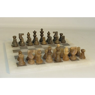 Scali Alabaster Chess Set in Brown / Ash