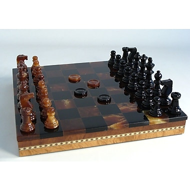 Scali Alabaster Inlaid Chest Chess Set in Black / Brown