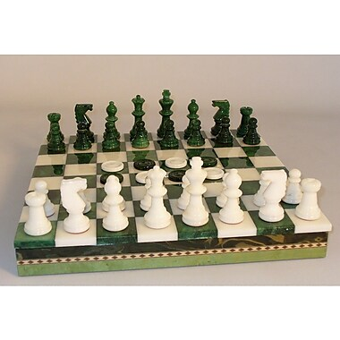 Scali Alabaster Inlaid Chest Chess Set in Green / White