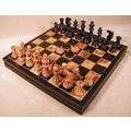 Scali Alabaster Chest Chess Set in Black / Brown