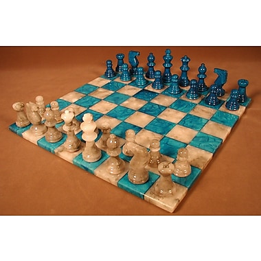 Scali Basic Alabaster Chess Set in Blue / Grey