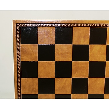 Ital Fama Pressed Leather Chess Board in Black / Tan